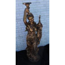 """Статуя """"Девушка с павлином"""" в цвете бронза"""