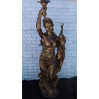"""Статуя """"Девушка с павлином"""" в цвете бронза, полистоун"""