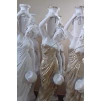 Статуя девушка с кувшином. Гипс. Белый+золото