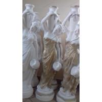 Статуя девушка с кувшином.  Полистоун. Белый + золотое платье
